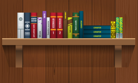 Book shelf with realistic books stalks on colored illustration.