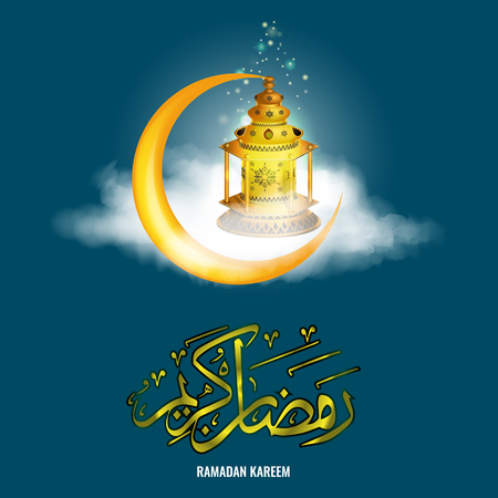 Vector Realistic Ramadan lantern Fanus with star sparkle and realistic clouds and Ramadan Kareem calligraphy.