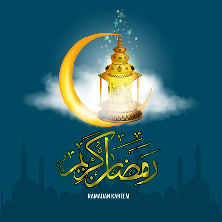 Realistic Ramadan lantern Fanus with star sparkle and realistic clouds and Ramadan Kareem calligraphy. Illustrated vector.