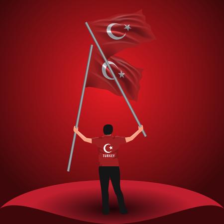 15 juillet, dessin vectoriel de la démocratie et de l'unité nationale. Homme tenant deux drapeaux turcs sur sa main.