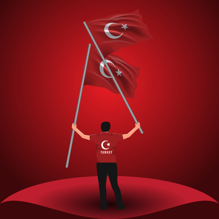 July 15, Democracy and National Unity Day vector drawing. Man holding two Turkish flags on his hand.