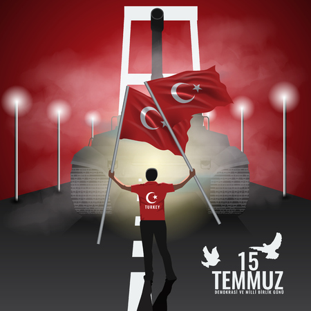Vector 15 july Day Turkey. Translation of title in Turkish is 15 July The Democracy and National Unity Day of Turkey.