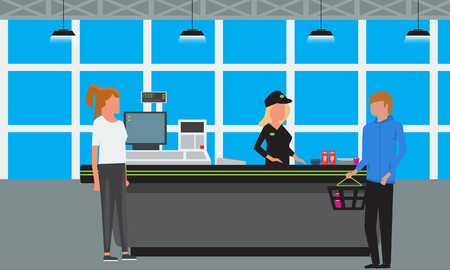 Vector Big Supermarket or Mall Interior. Scene inside of shopping mall people standing at cashier. Illustration