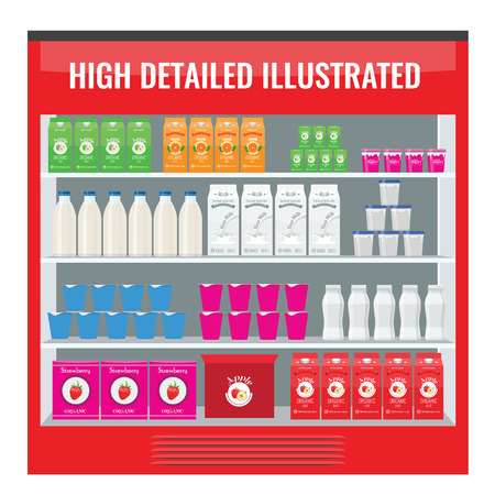 Refrigerated supermarket display case full with multiple drinks and beverages. Illustrated vector for your Mockup design. 向量圖像