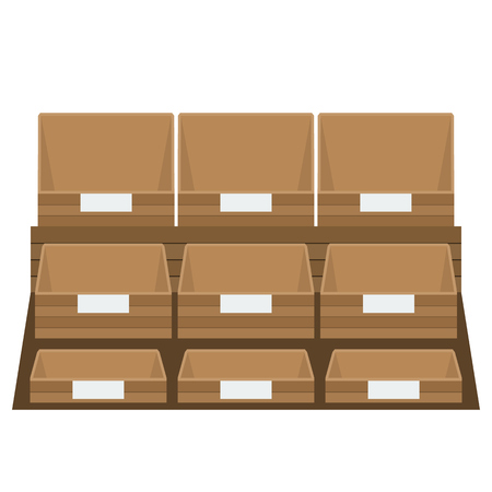 Empty grocery boxes at store or supermarket.