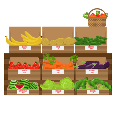 Shelves with fresh vegetable assortment. Wooden Grocery boxes. Illustrated vector with solid and flat color design.