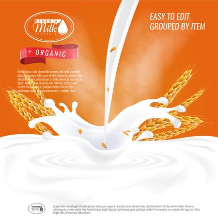 Klaar havermout advertentiesjabloon lay-out, met melk gieten witte ruimte.