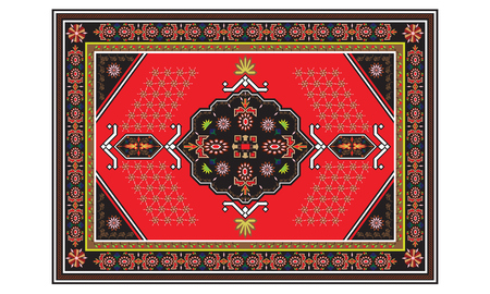Persian carpet with tribal geometrical ornamental decoration. Persian rug concept vector.