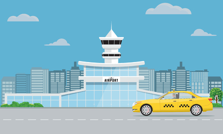 Airport terminal building and yellow taxi. Urban background flat and solid color design.