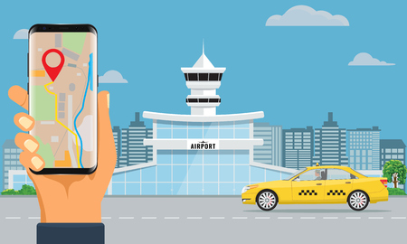 Airport terminal building and yellow taxi hand holding smartphone booking taxi. Urban background flat and solid color design.
