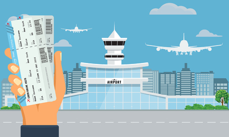 Airport terminal building. Hand holding two air tickets. Urban background flat and solid color design. Illustration