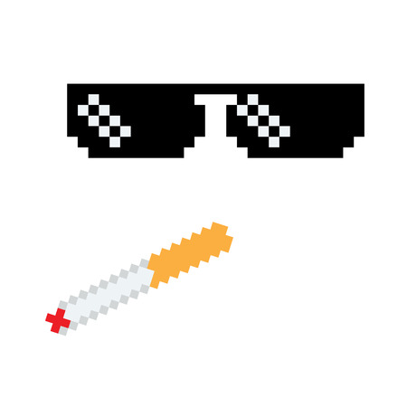 Glasses pixel vector icon Pixel Art boss or gangster Glasses of Thug Life Meme and smoke. Stock Photo