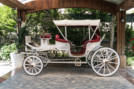 Old or antique White horse-drawn carriage mock up.