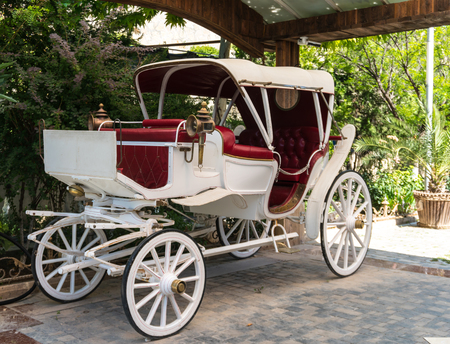 Old or antique White horse-drawn carriage mock up. Stock Photo