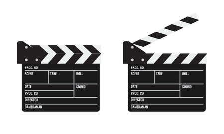 Opened and closed Cinema or film clapper. Illustrated vector. Vektorové ilustrace