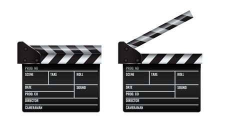 Opened and closed realistic Cinema or film clapper. Illustrated vector. Vektorové ilustrace