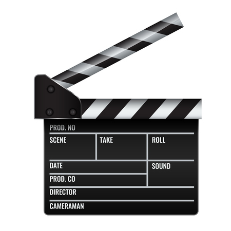 Opened realistic Cinema or film clapper. Illustrated vector. Illustration