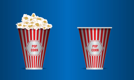 Empty and full Popcorn in a red striped bucket box. Realistic vector.