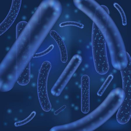 Vektor Mikrobakterium oder Virusorganismen. Abstrakter Hintergrund des mikroskopischen Lactobacillus- oder Acidophilus-Organismus mit defokussierten Elementen der Bokeh-Unschärfe. Vektorgrafik