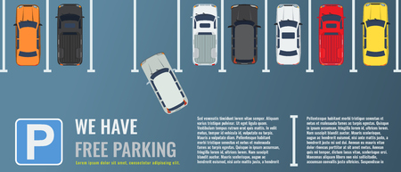 City parking lot with a group of different cars top view. Public car-park. Flat illustration for web or poster banner. Illustrated vector. Vetores