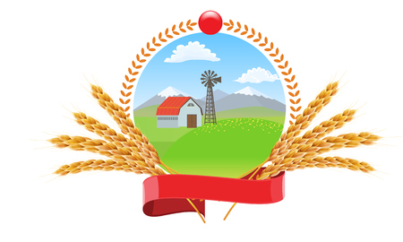 Farm landscape with wheat spikes circle round logo vector design for package design. Vettoriali