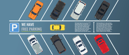 City parking lot with a group of different cars top view. Public car-park. Flat illustration for web or poster banner. Illustrated vector.