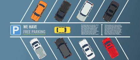 Estacionamiento de la ciudad con vista superior de un grupo de diferentes autos. Aparcamiento público. Ilustración plana para banner web o cartel. Vector ilustrado.