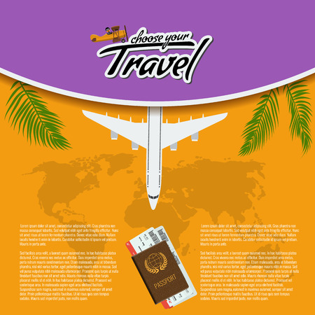 3D Realistic Travel and Tour creative Poster Design with realistic airplane, world map, passport and air tickets with palm tree leaf. Vector Illustration.