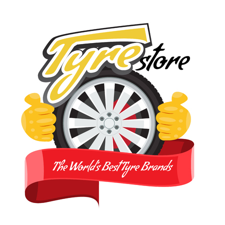 Tyre store or repair logo with red ribbon. Modern, solid and flat color style design. Illustrated vector. Stock Illustratie