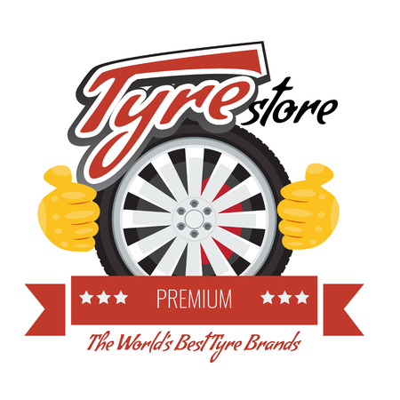 Tyre store or repair logo with red ribbon. Modern, solid and flat color style design. Illustrated vector. Stockfoto