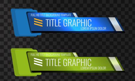 Set di titolo titolo video o terzo modello inferiore. Progettazione di banner creativi per video.