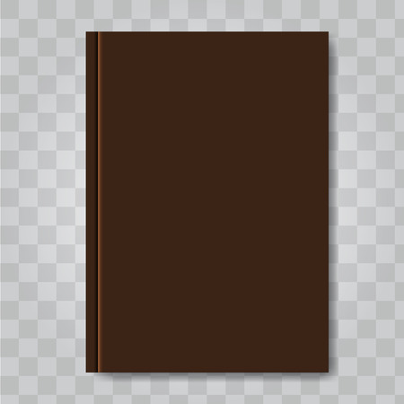 Book cover mock up. Dark brown color. Ready template blank white vertical design template. Illustrated vector.