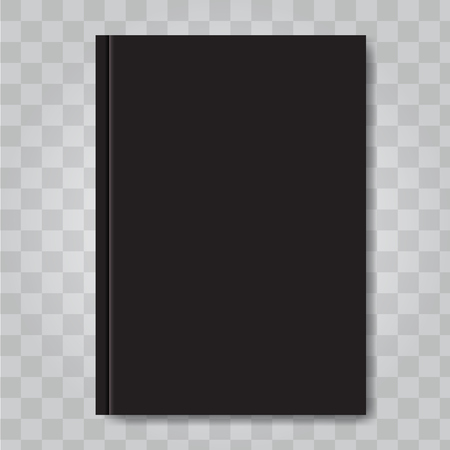 Book cover mock up. Dark black color. Ready template blank white vertical design template. Illustrated vector.