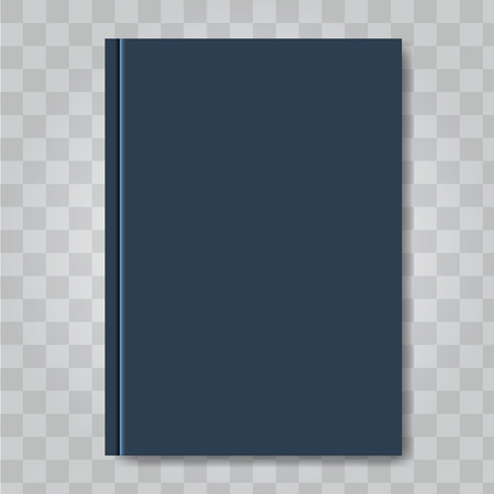 Book cover mock up. Dark blue color. Ready template blank white vertical design template. Illustrated vector.