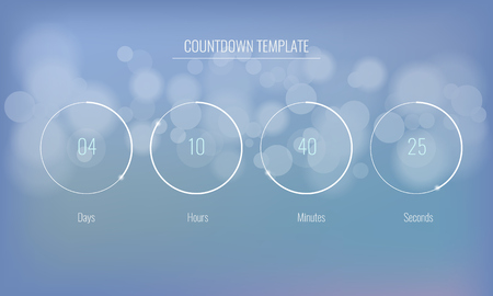Part of the User interface Clock countdown template for application, UI elements. Design of countdown timer for coming soon or under construction action. Illustratev vector.