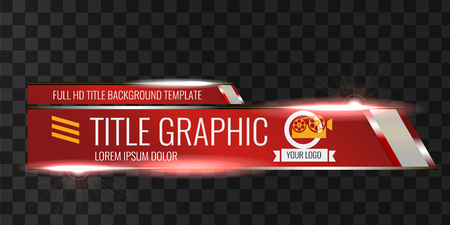 Video headline title or lower third template. Creative banner design for video. Red color.