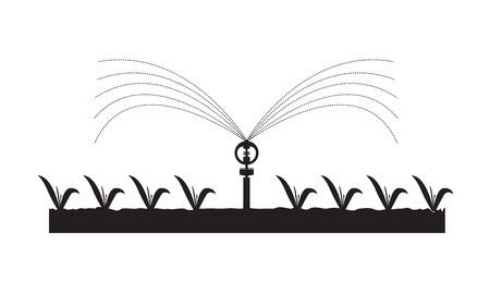 Aspersores automáticos Sistema de riego para plantas, granjas, jardines. Ilustración de vector