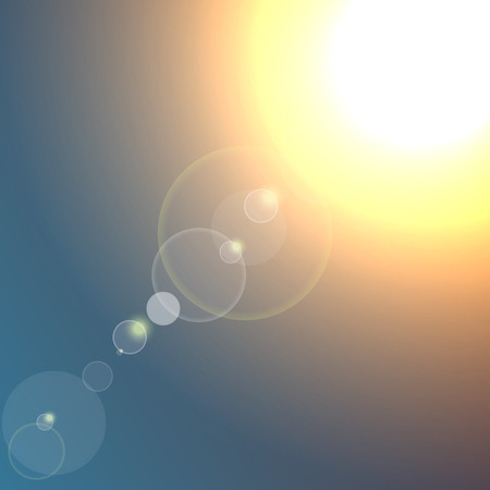 Sol realista estalló con destellos sobre fondo azul oscuro. Ilustración de vector. Ilustración de vector