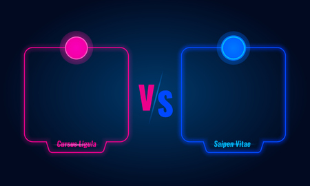 Versus or compare screen with blue neon frames and vs letters. Banco de Imagens