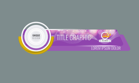 Video headline title or lower third template with flow and bokeh lights effect. Creative banner design for video. Purple color.