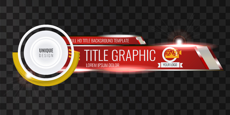 Video headline title or lower third template with flow and bokeh lights effect. Creative banner design for video. Red color.