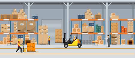 Interno del magazzino con scatole su rack e persone che lavorano. Concetto di servizio di consegna logistica in stile piatto e solido. Illustrazione di vettore. Vettoriali
