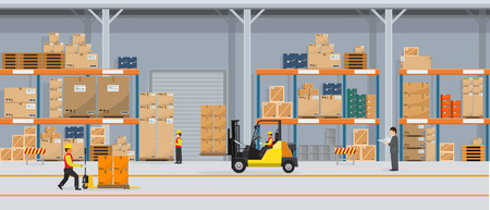 Warehouse Interior with Boxes On Rack And People Working. Flat and solid color style Logistic Delivery Service Concept. Vector Illustration.