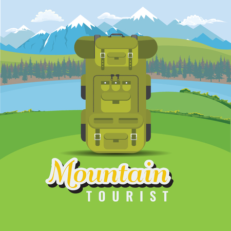 Backpack on hill with mountain and lake landscape. Flat and solid color style vector illustration.