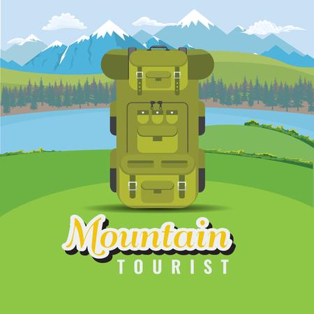 Rucksack auf Hügel mit Berg- und Seenlandschaft. Flache und einfarbige Stilvektorillustration.