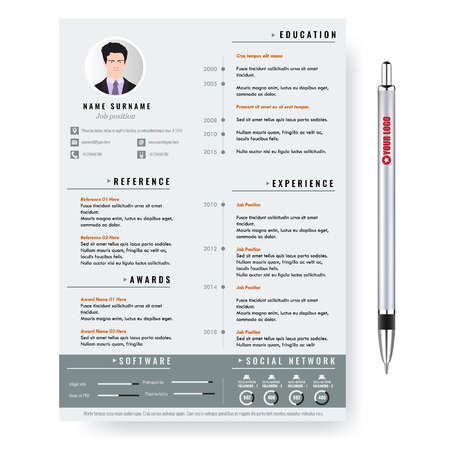 Vector creative minimalist cv resume template with photo frame and infographic charts. Casual, solid and clean template .