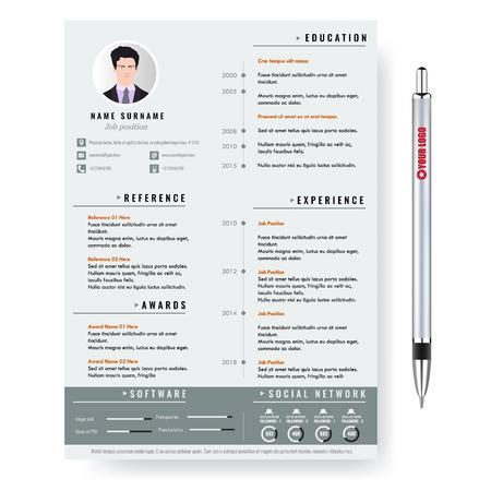 Vector plantilla de currículum vitae minimalista creativo con marco de fotos y gráficos infográficos. Plantilla casual, sólida y limpia.