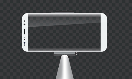 Monopod Selfie stick with empty smartphone screen for your design. Illustrated vector. 矢量图像