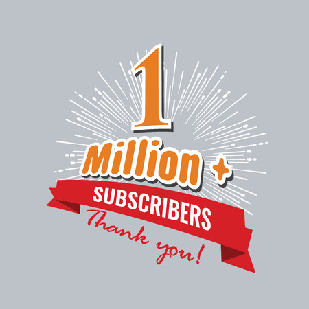 1 Million subscribers achievement symbol design with ribbon and star for social media.