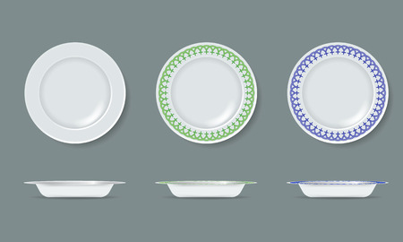 White empty and decorated ceramic plate mock up with top and side view. Detailed Vector Illustration.